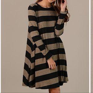 Striped Brown & Black Dress